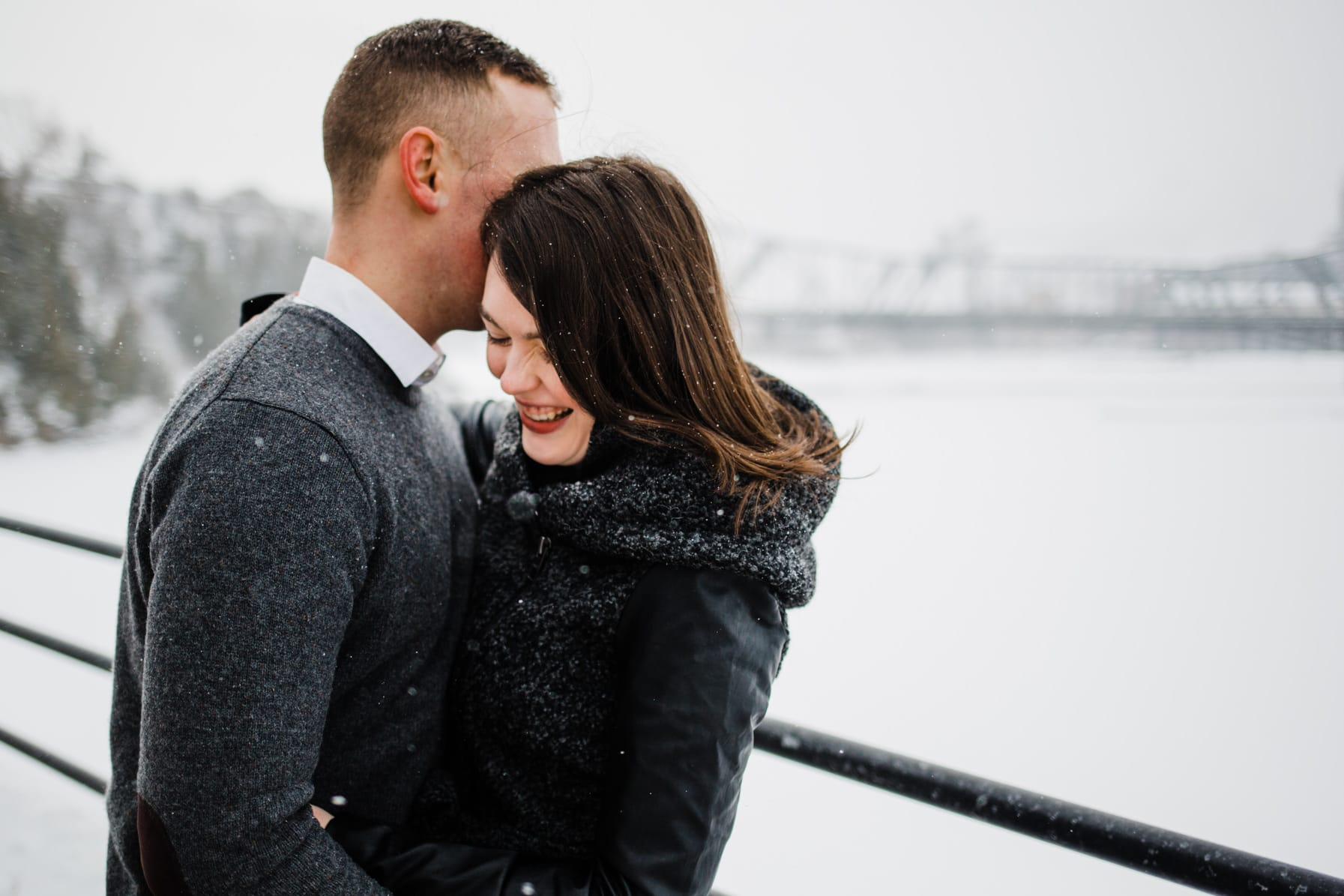 Downtown Ottawa Engagement Session - Couple laughs together
