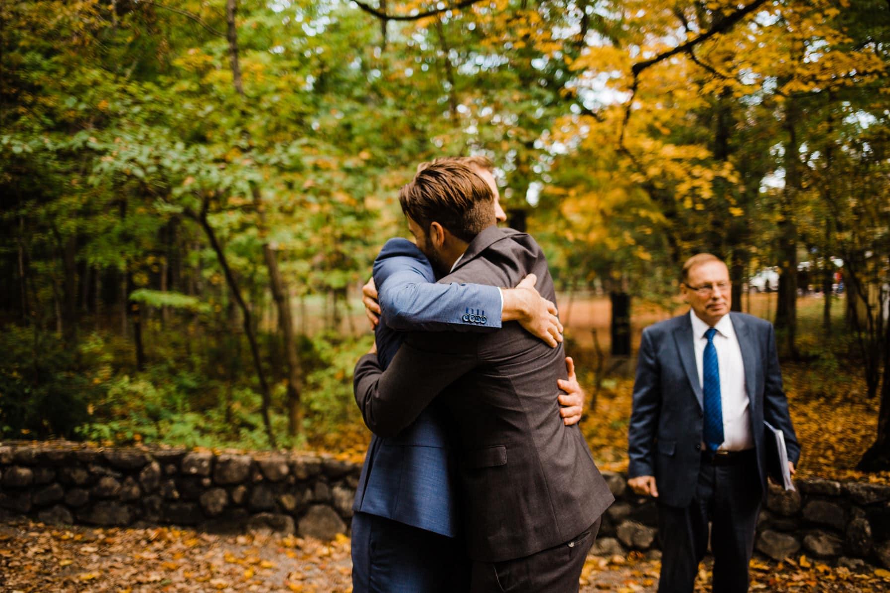 Groom greeting guests - Intimate Wedding Mackenzie King Estate