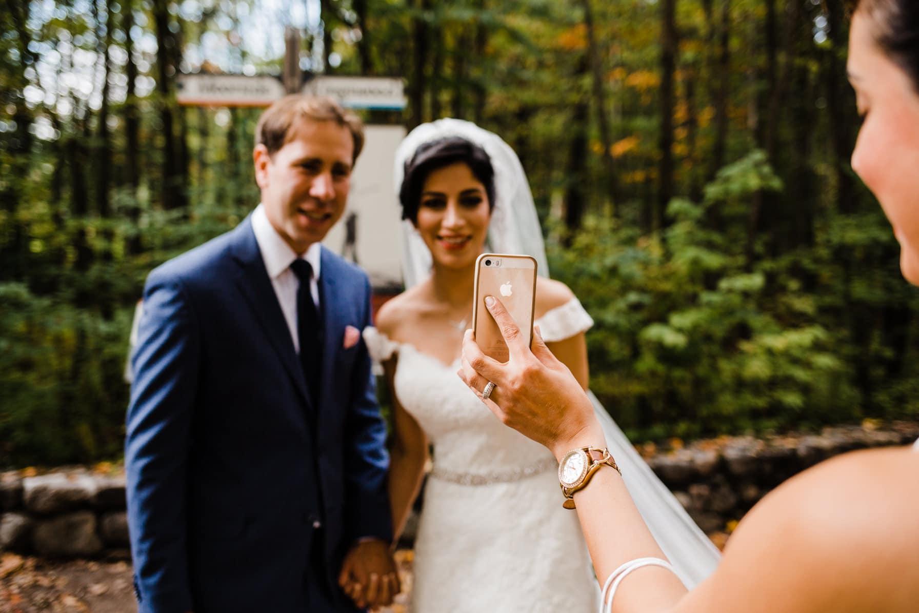 Bride FaceTiming with Mom - Intimate Wedding Mackenzie King Estate