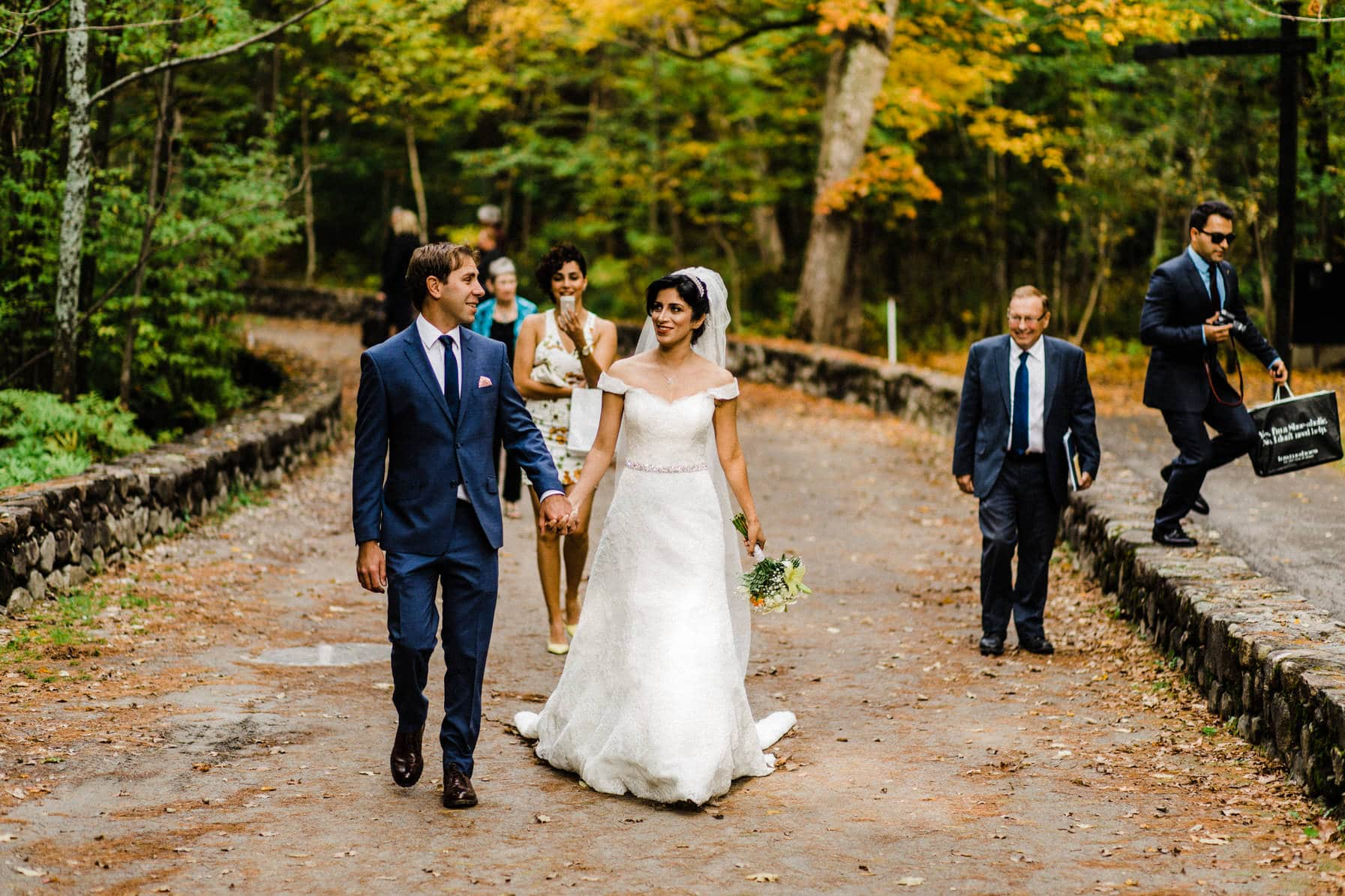 Walking to ceremony - Intimate Wedding Mackenzie King Estate