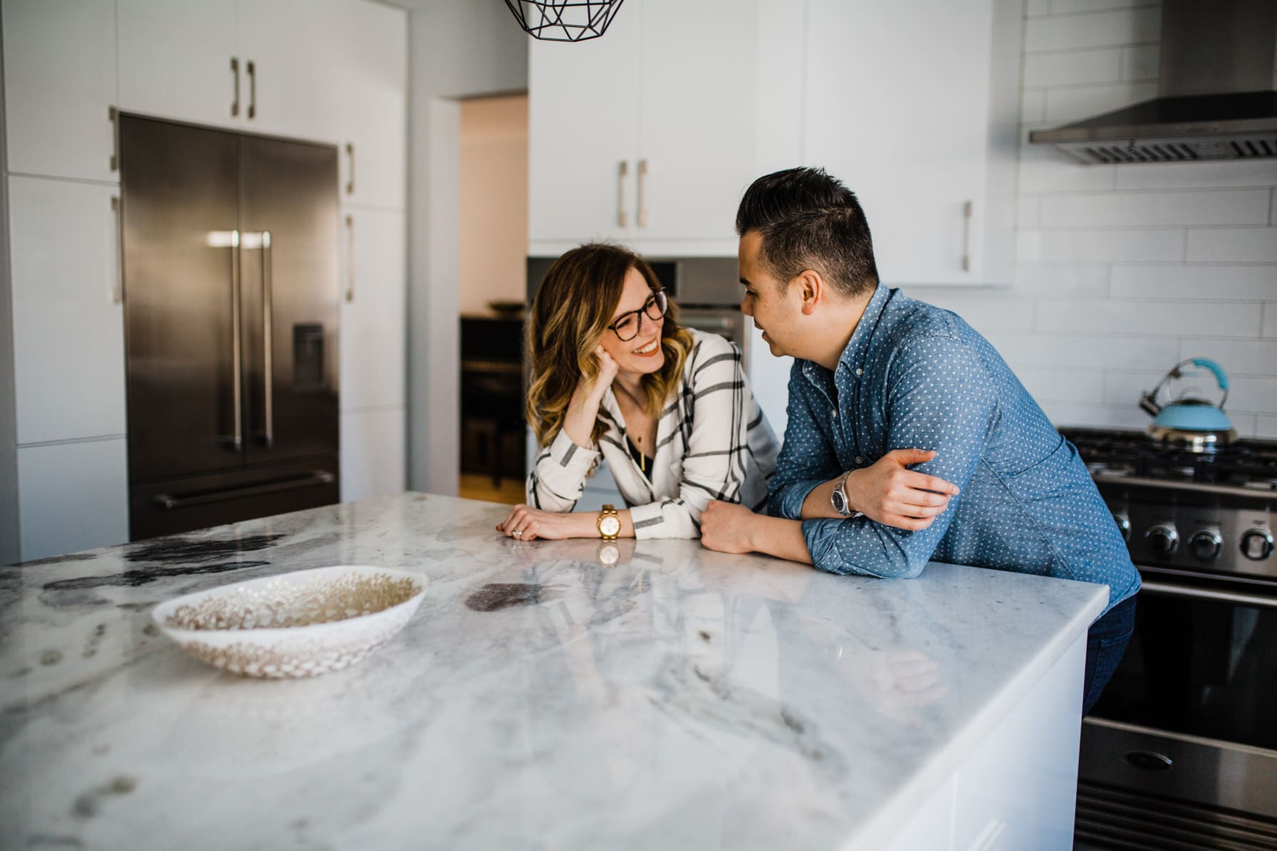 Couple hang out in kitchen - Cozy At-Home Photos Lifestyle