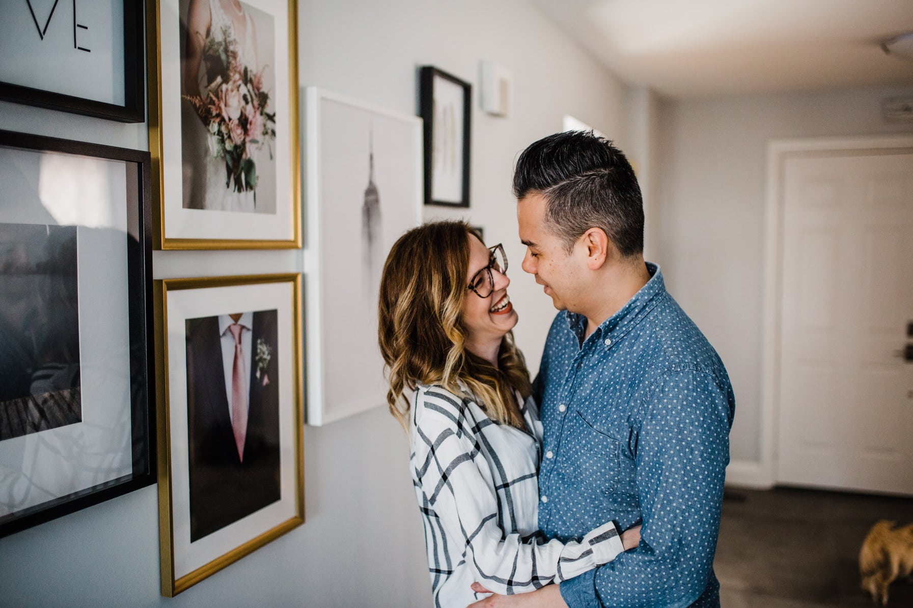 Couple laugh together at home - Cozy At-Home Photos Lifestyle