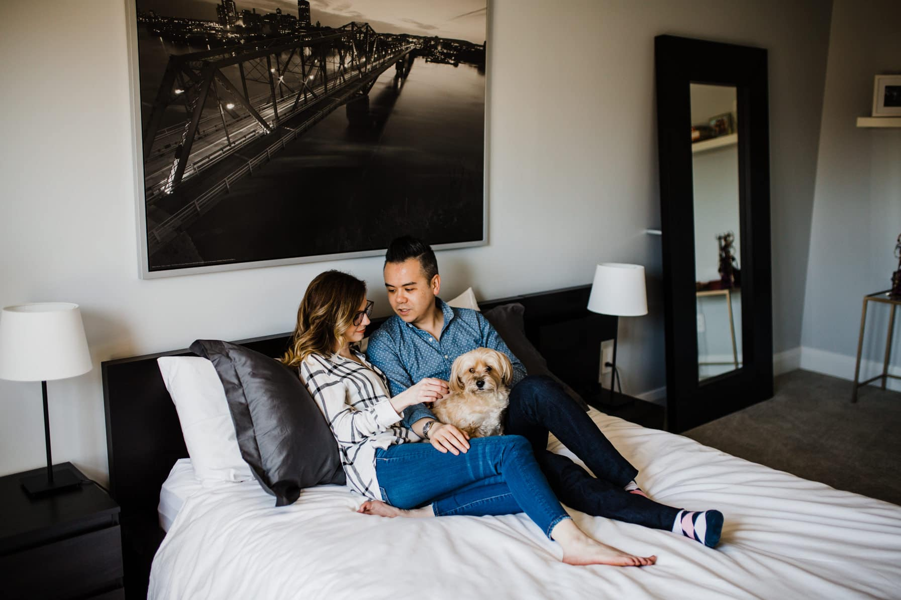 Couple hang out in bed - Cozy At-Home Photos Lifestyle