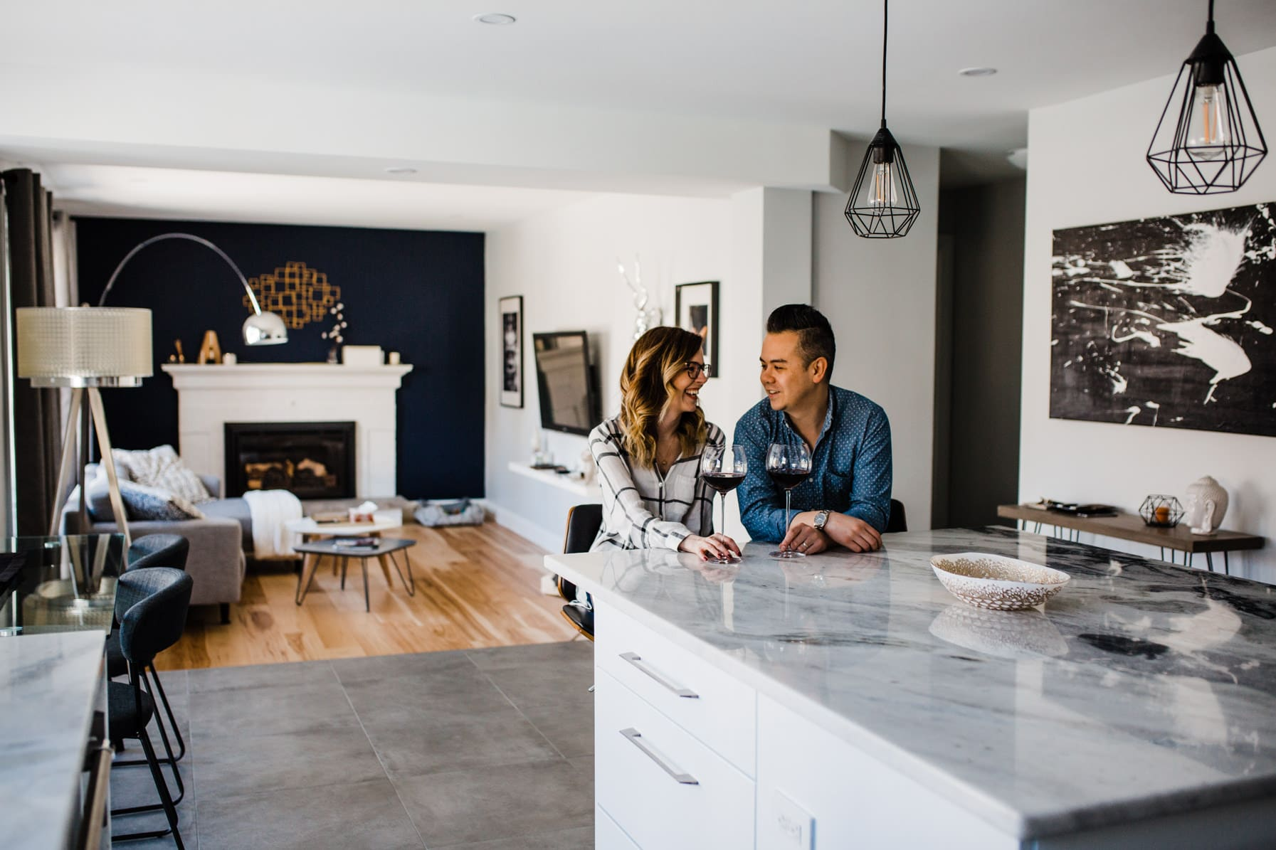 Couple drink wine in kitchen - Cozy At-Home Photos Lifestyle
