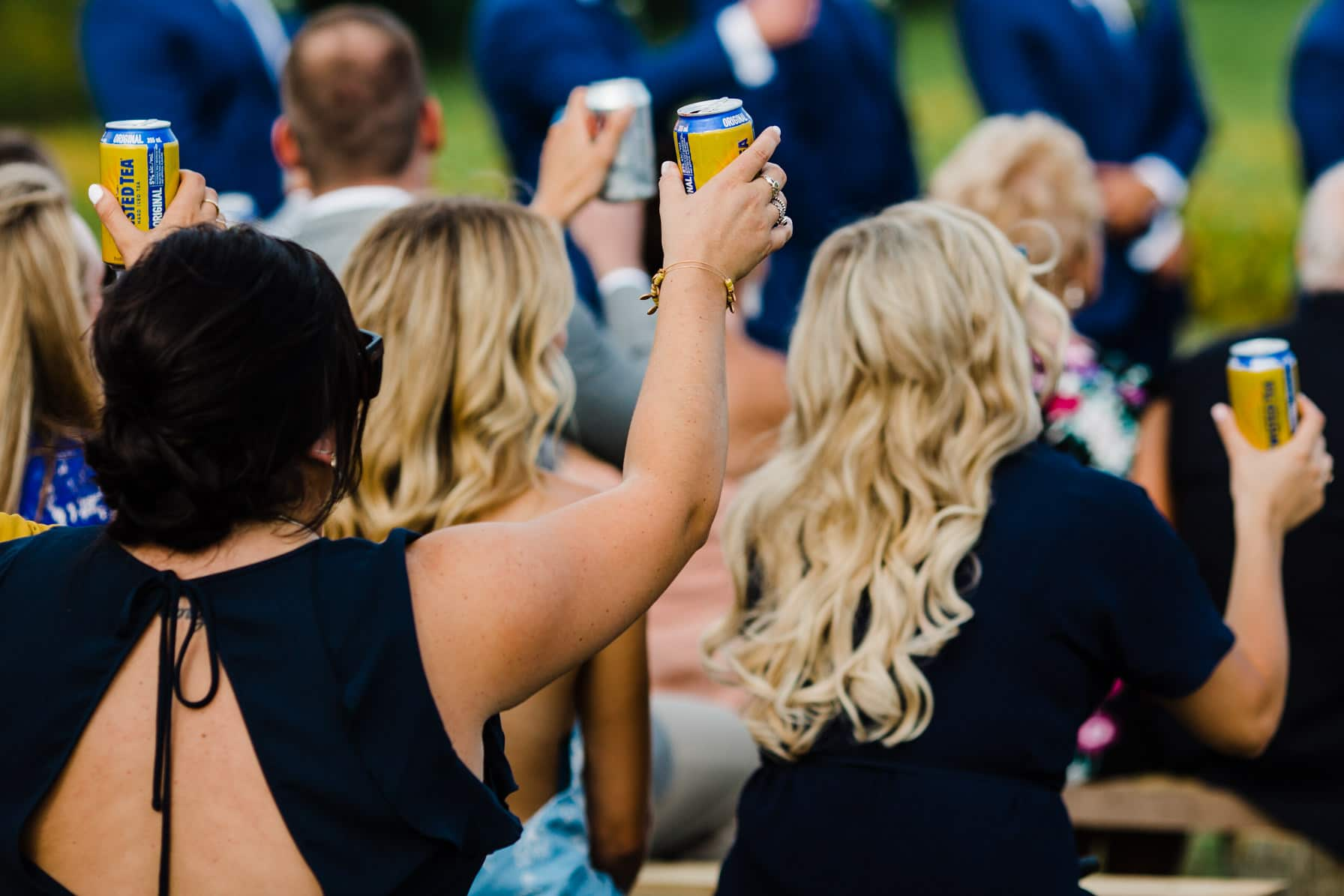 guests cheers during wedding - summer farm wedding