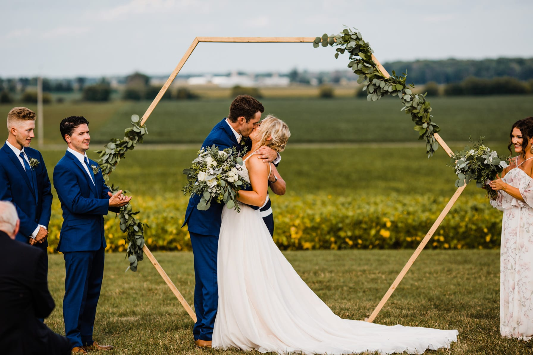 first kiss - summer farm wedding
