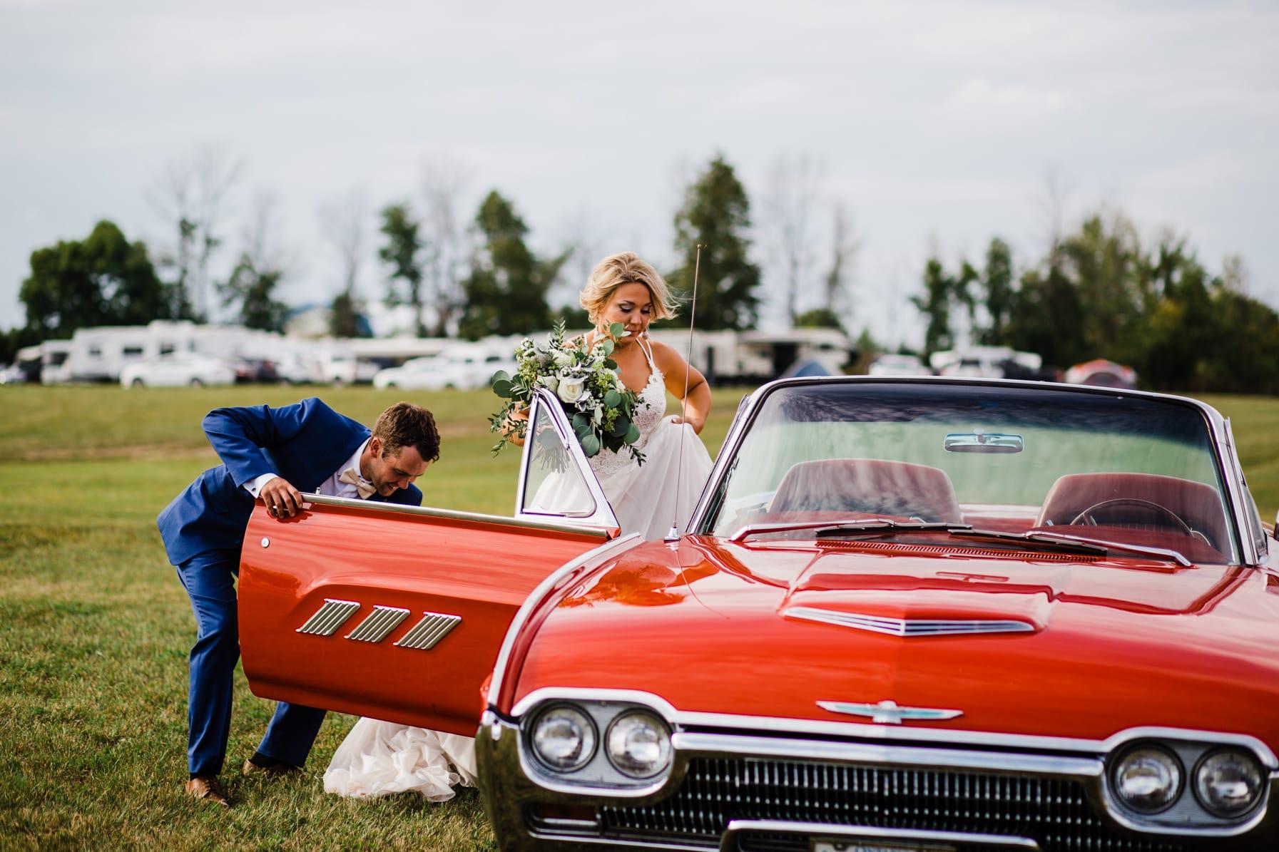 getaway car - summer farm wedding