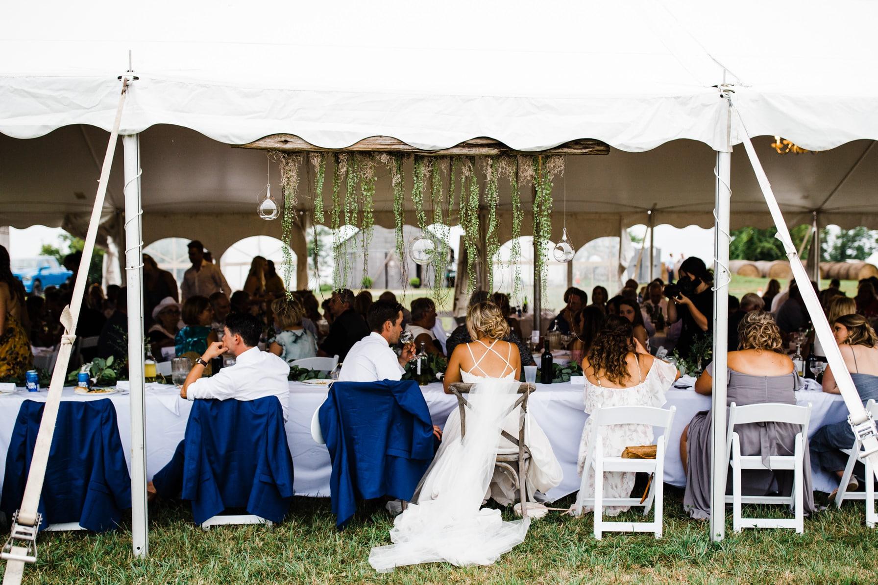 outdoor tent reception - summer farm wedding
