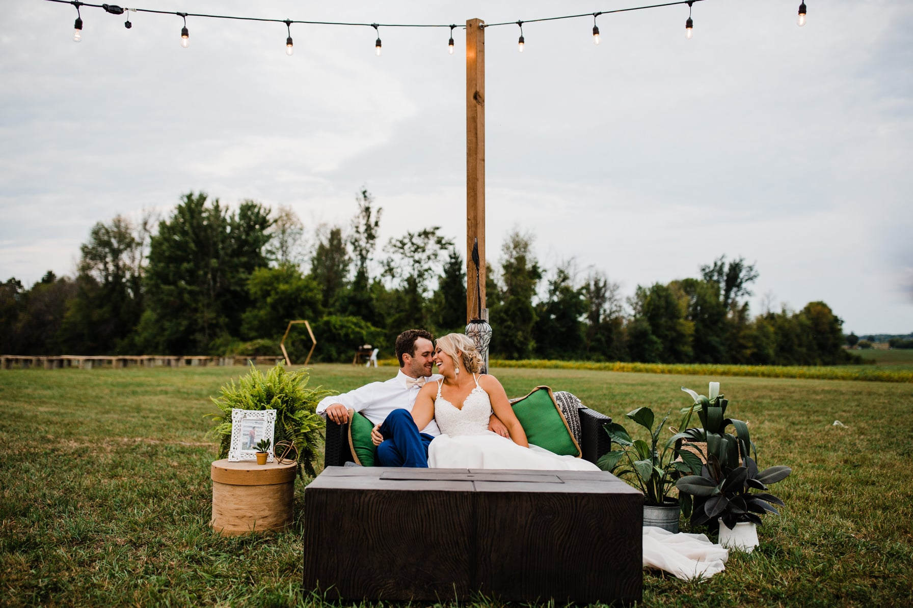 sunset portraits - summer farm wedding