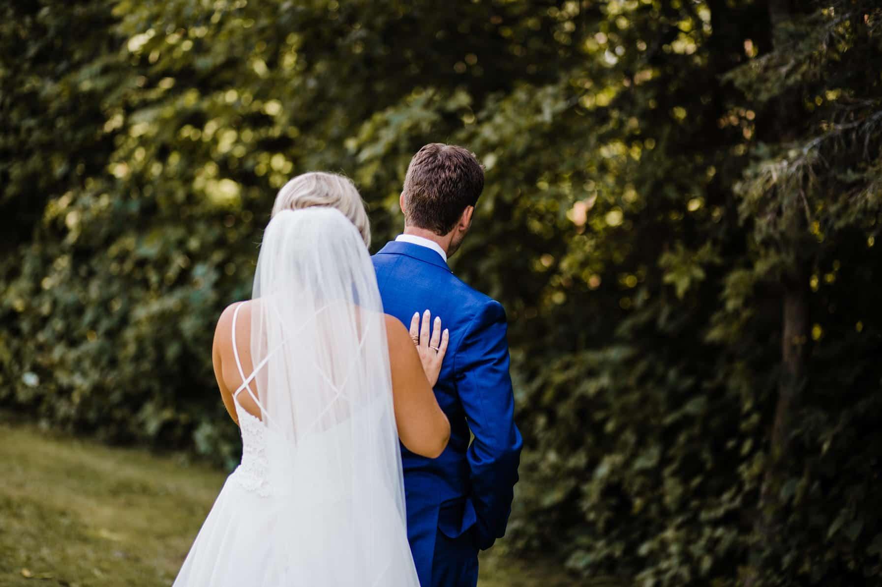 first look - summer farm wedding