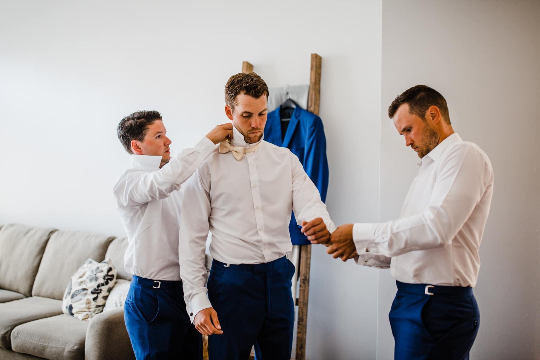 groomsmen getting ready - summer farm wedding