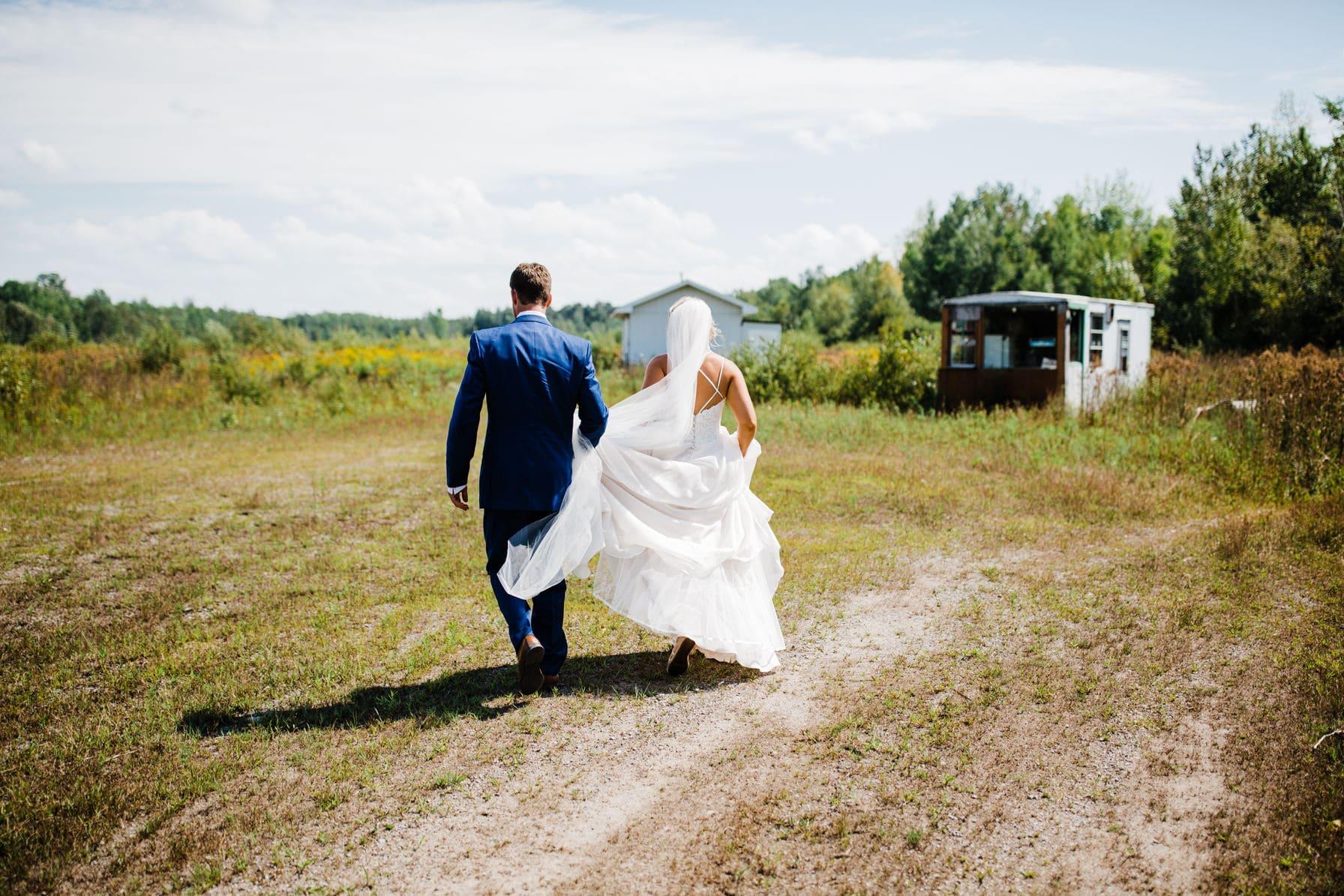 bride and groom portraits - summer farm wedding