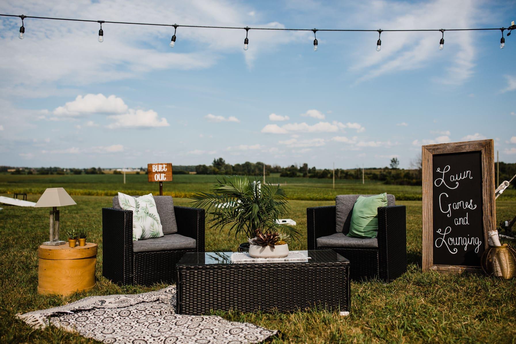outdoor seating area - summer farm wedding