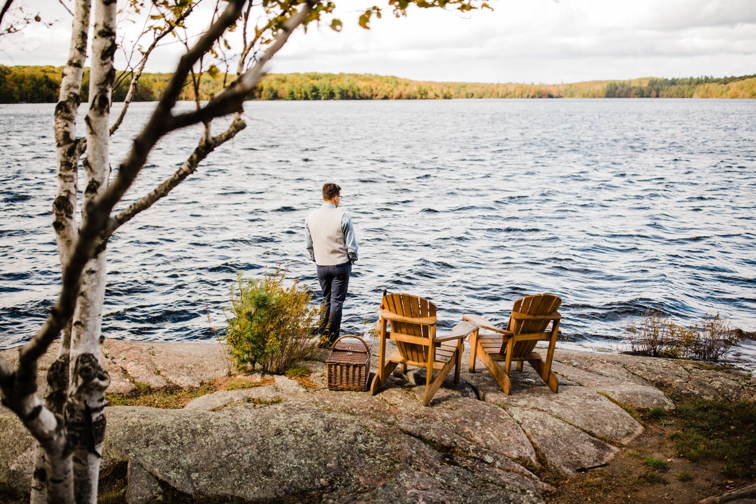 groom waiting for first look summer camp wedding