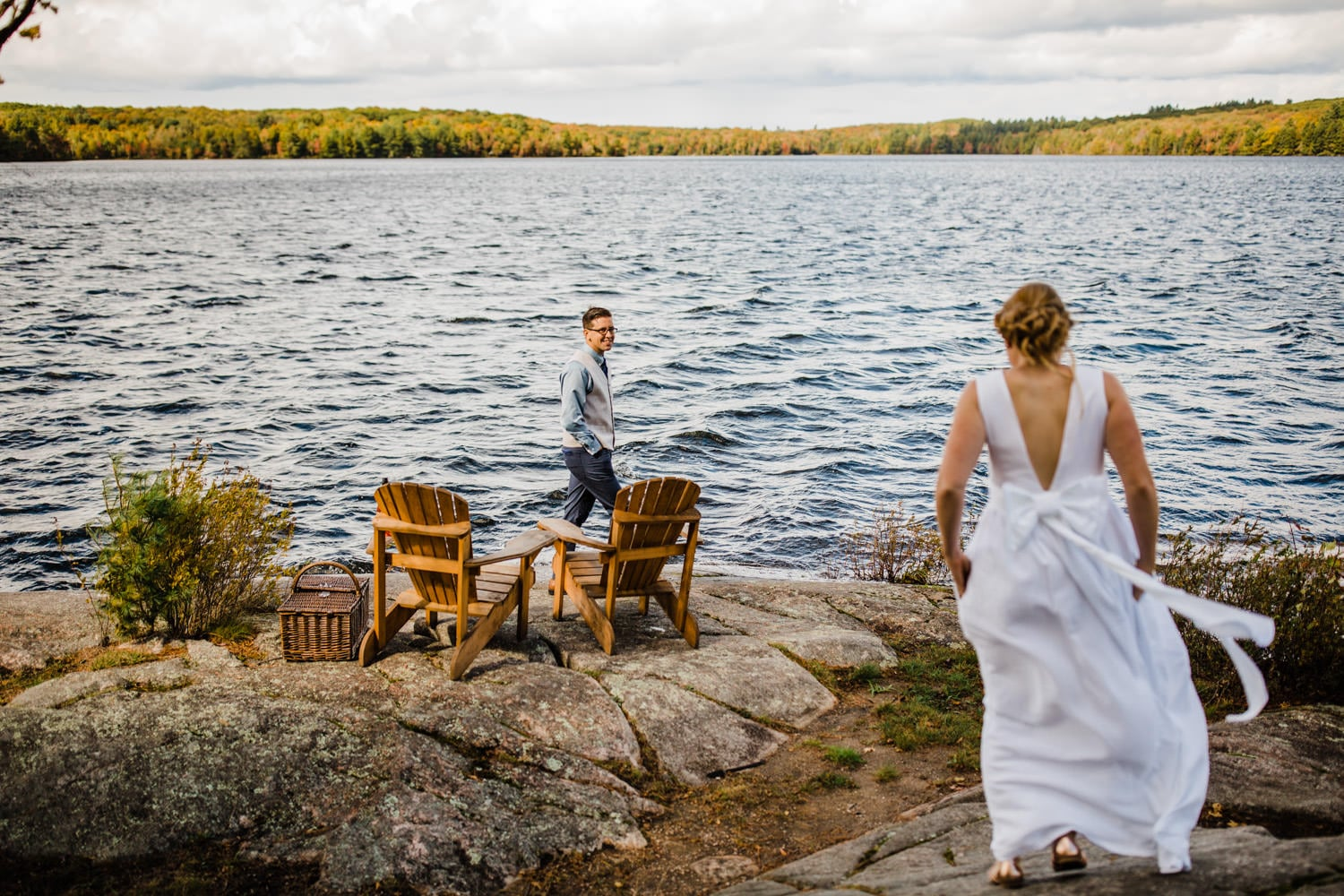 first look by water summer camp wedding