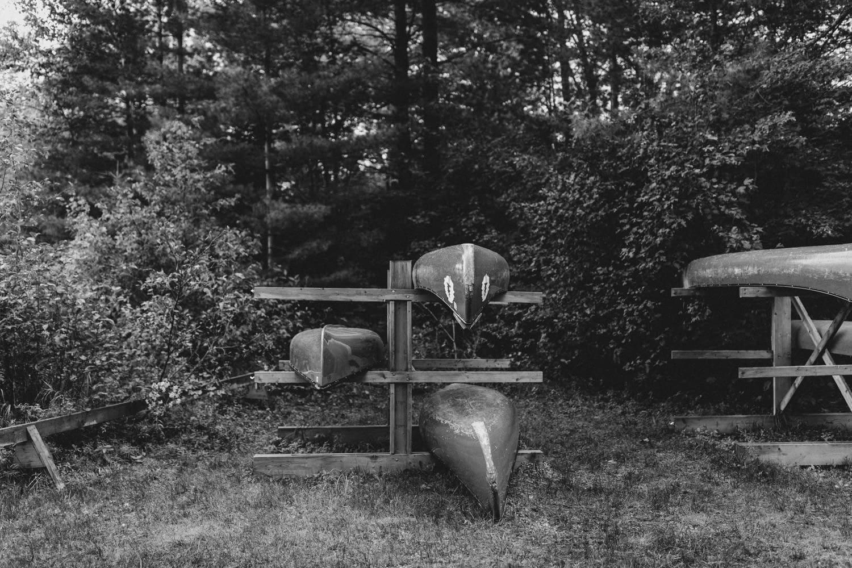 summer camp wedding bark lake canoes