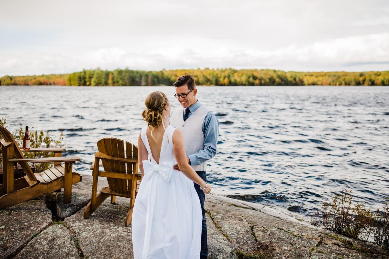 first look summer camp wedding