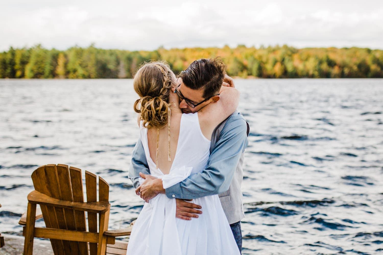 first look hug summer camp wedding