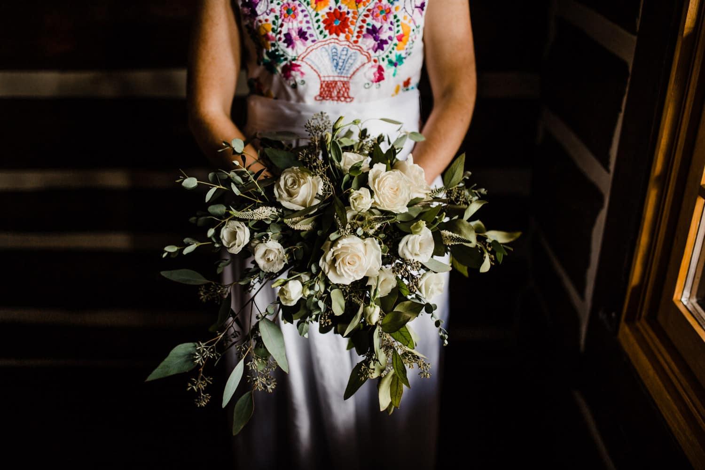 bridal bouquet summer camp wedding