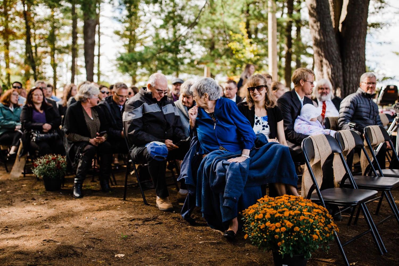 grandma anxiously awaits ceremony at summer camp wedding