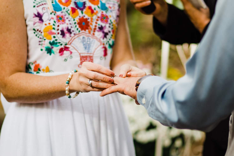 ring exchange - summer camp wedding
