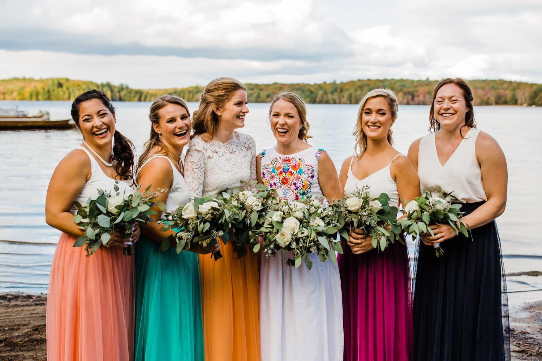 bridal party at summer camp wedding