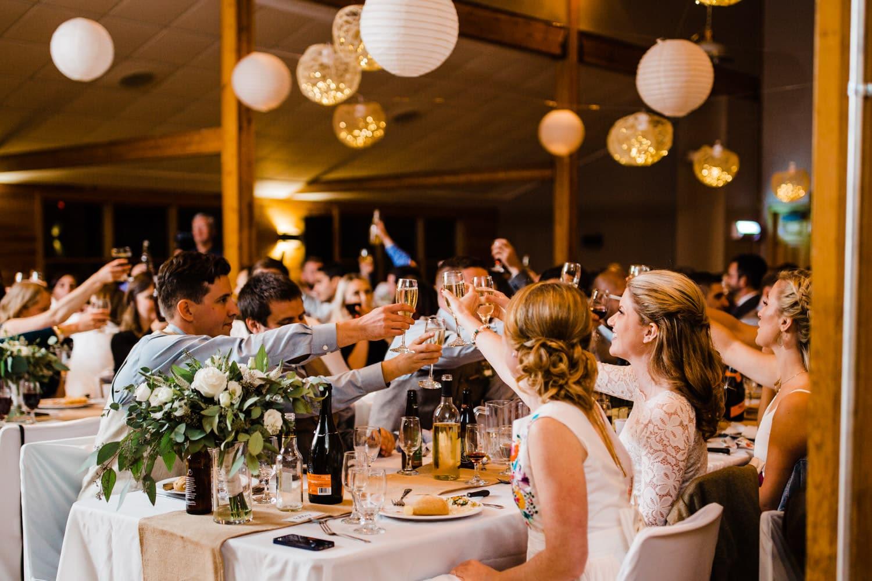 toasts at summer camp wedding